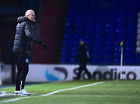 Oldham Athletic manager Frankie Bunn shouts instructions to his team from the technical area<br /> <br /> Photographer Andrew Vaughan/CameraSport<br /> <br /> The EFL Sky Bet League Two - Oldham Athletic v Lincoln City - Tuesday 27th November 2018 - Boundary Park - Oldham<br /> <br /> World Copyright © 2018 CameraSport. All rights reserved. 43 Linden Ave. Countesthorpe. Leicester. England. LE8 5PG - Tel: +44 (0) 116 277 4147 - admin@camerasport.com - www.camerasport.com