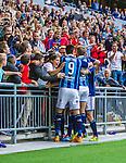 Stockholm 2014-08-31 Fotboll Allsvenskan Djurg&aring;rdens IF - Malm&ouml; FF :  <br /> Djurg&aring;rdens Sebastian Andersson har gjort 2-0 och jublar med publik och lagkamrater<br /> (Foto: Kenta J&ouml;nsson) Nyckelord:  Djurg&aring;rden DIF Tele2 Arena Malm&ouml; MFF supporter fans publik supporters jubel gl&auml;dje lycka glad happy