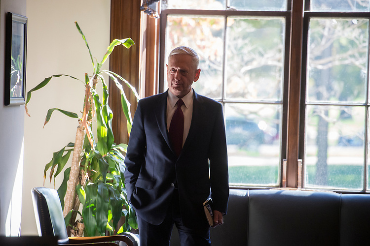 UNITED STATES - OCTOBER 20: Defense Secretary James Mattis arrives in the Russell Building office of Sen. John MCain, R-Ariz., before a meeting with the Senator on October 20, 2017 about the deaths of four U.S. soldiers in Niger. (Photo By Tom Williams/CQ Roll Call)