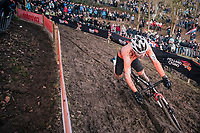 Joris Nieuwenhuis (NED/Sunweb) losing control (just before he crashes) of his balance (and about to lose the race lead to later winner Iserbyt)<br /> <br /> U23 Men's Race<br /> UCI CX Worlds 2018<br /> Valkenburg - The Netherlands