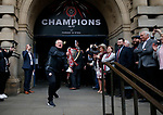 Chris Wilder manager of Sheffield Utd with the trophy during the open top bus parade from Bramall Lane Stadium to Sheffield Town Hall, Sheffield. Picture date: May 2nd 2017. Pic credit should read: Simon Bellis/Sportimage