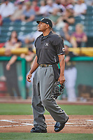 Umpire Javerro January handles the calls behind the plate during the game between the Salt Lake Bees and the Memphis Redbirds at Smith's Ballpark on July 24, 2018 in Salt Lake City, Utah. Memphis defeated Salt Lake 14-4. (Stephen Smith/Four Seam Images)
