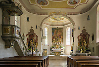 Germany, Bavaria, Swabia, Upper Allgaeu, resort Bad Hindelang, district Hinterstein at Ostrach Valley: parish church St Antonius - interior | Deutschland, Bayern, Schwaben, Oberallgaeu, Bad Hindelang, Ortsteil Hinterstein im Ostrachtal: Pfarrkirche St. Antonius, innen