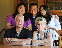 The Adams family (clockwise from top left) Lizzie Adams, Daniel Adams, Emily Adams, mother Regina Adams and father Kevin Adams plans to attend the Papal Mass during the World Meeting of Families event Sunday June 20, 2015 in Harleysville, Pennsylvania. (Photo by William Thomas Cain)