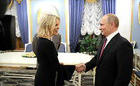 www.acepixs.com<br /> <br /> US and Canada Only<br /> <br /> March 2 2018, Kaliningrad<br /> <br /> Russian President Vladimir Putin during an interview with NBC network anchor Megyn Kelly on March 2 2018 in Kaliningrad, Russia.<br /> <br /> <br /> <br /> By Line: Scoop/ACE Pictures<br /> <br /> <br /> ACE Pictures Inc<br /> Tel: 6467670430<br /> Email: info@acepixs.com<br /> www.acepixs.com