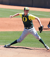 Alex Keudell #47 of the Oregon Ducks plays against the Arizona State Sun Devils on April 3, 2011 at Packard Stadium, Arizona State University, in Tempe, Arizona. .Photo by:  Bill Mitchell/Four Seam Images.