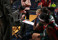 Jan. 6, 2011; Charlottesville, VA, USA; Miami Hurricanes head coach Katie Meier talks with her team during the game against the Virginia Cavaliers at the John Paul Jones Arena.  Mandatory Credit: Andrew Shurtleff