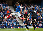 Lee McCulloch strides in to open the scoring for Rangers against Clyde