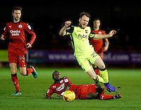 Exeter City's Jake Taylor is fouled during the Sky Bet League 2 match between Crawley Town and Exeter City at Broadfield Stadium, Crawley, England on 28 February 2017. Photo by Carlton Myrie / PRiME Media Images.