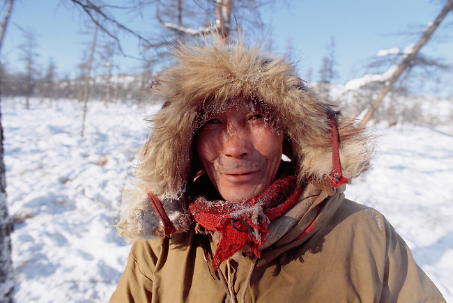 Andrey Oporka, an Even reindeer herder from Northern Evensk out at his winter pastures. Magadan Region, E. Siberia, Russia