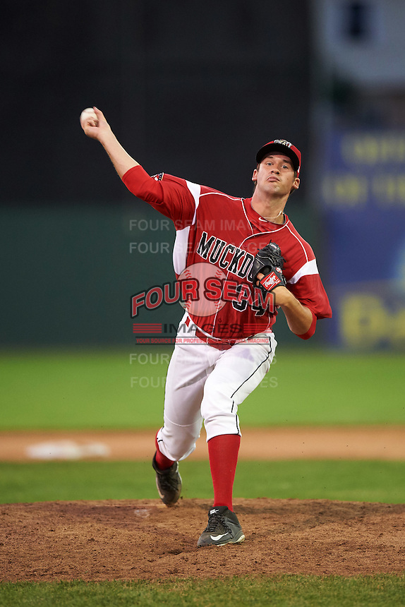 Batavia Muckdogs relief pitcher Chad Smith (34) during a game against the Brooklyn Cyclones on July 5, 2016 at Dwyer Stadium in Batavia, New York.  Brooklyn defeated Batavia 5-1.  (Mike Janes/Four Seam Images)