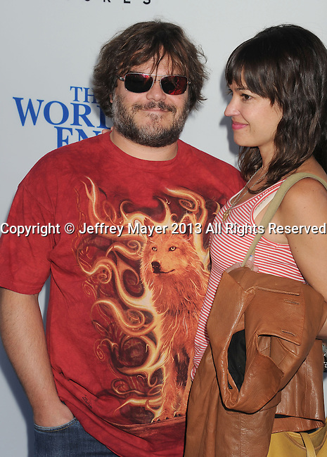 HOLLYWOOD, CA- AUGUST 21: Actor Jack Black (L) and Tanya Haden arrive at the Los Angeles premiere of 'The World's End' at ArcLight Cinemas Cinerama Dome on August 21, 2013 in Hollywood, California.