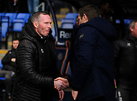 Lincoln City manager Michael Appleton shakes hands with Shrewsbury Town manager Sam Ricketts before kick off<br /> <br /> Photographer Andrew Vaughan/CameraSport<br /> <br /> The EFL Sky Bet League One - Shrewsbury Town v Lincoln City - Saturday 11th January 2020 - New Meadow - Shrewsbury<br /> <br /> World Copyright © 2020 CameraSport. All rights reserved. 43 Linden Ave. Countesthorpe. Leicester. England. LE8 5PG - Tel: +44 (0) 116 277 4147 - admin@camerasport.com - www.camerasport.com