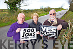 Noel Lynch from Ballylongford Enterprise Association with Joan Murphy and John Fox  from the Tarbert Development Association pictured  on Wednesday at the proposed sight for the LPG Terminal near Tarbert ahead of a crucial government meeting to be held next week in relation to the project.