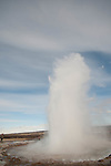 HAUKADALUR - ICELAND - MAY 06, 2012: The Haukadalur geothermal area lies north of Laugarvatn in the south of Iceland. The geysers of Strokkur and Geysir itself are some of the most famous tourist attractions in Iceland. Together with Þingvellir and the Haukadalur area forms the Golden Circle. (Photo by Dirk Markgraf)