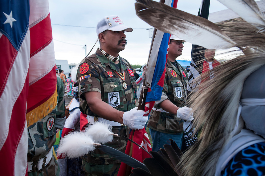 The Sioux tribe National guard parading on the streets of Pine Ridge during the Veteran pow wow, honoring Lakota warriors who served in different US wars.