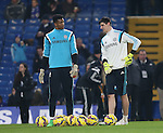 Chelsea's Thibaut Courtois holds his hip as he warms up<br /> <br /> Barclays Premier League- Chelsea vs Everton  - Stamford Bridge - England - 11th February 2015 - Picture David Klein/Sportimage