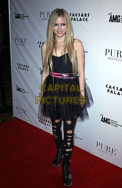Avril Lavigne.Avril Lavigne celebrates MAGIC with official Abbey Dawn After-Party at Pure Nightclub inside Caesar's Palace, Las Vegas, Nevada, USA..August 23rd, 2011.full length black tulle dress pink belt boots leggings ripped torn.CAP/ADM/MJT.© MJT/AdMedia/Capital Pictures.