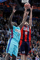 Caja Laboral Baskonia's Milko Bjelica (r) and FC Barcelona Regal's Nathan Jawai during Spanish Basketball King's Cup semifinal match.February 07,2013. (ALTERPHOTOS/Acero)