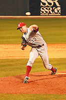 NASHVILLE, TENNESSEE-Feb. 25, 2011:  Chris Reed of Stanford delievers a pitch during a game at Vanderbilt University in Nashville, Tennessee.  Vanderbilt defeated Stanford 2-1.