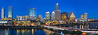 Austin Nighttime Panorama - This is an panorama image of the Austin skyline in downtown. This image captured the first street bridge and congress bridge as they cross Lady Bird Lake.  Also in this image is landmark buildings like the Frost, Austonian, W building along with the  Austin City Hall and many other familiar buildings in the downtown area.