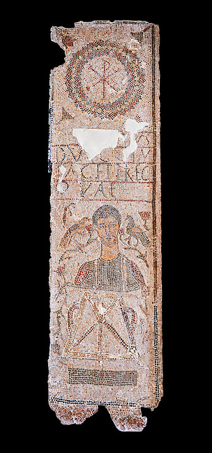 The Christian Eastern Roman Byzantine memorial funerary mosaic of an un-named man described as gentle and depicted with a bushel used to measure grain from the public grain warehouse. On its side is teh Chi Rho symbols used by early Christians to represent Christ.  Thabarca, Tabarks, 5th Century AD, Bardo Museum, Tunis, Tunisia. Black background