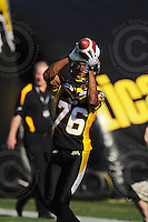 June 23, 2009; Hamilton, ON, CAN; Hamilton Tiger-Cats wide receiver Drisan James (76). CFL football: Toronto Argonauts vs. Hamilton Tiger-Cats at Ivor Wynne Stadium. The Argos defeated the Tiger-Cats 27-17. Mandatory Credit: Ron Scheffler. Copyright (c) 2009 Ron Scheffler.