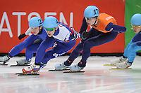 SHORT TRACK: DORDRECHT: Sportboulevard, 14-02-2016, ISU World Cup Short Track Final 2015/2016, Ruslan Zakharov (#43), Dennis Visser (#178), ©photo Martin de Jong