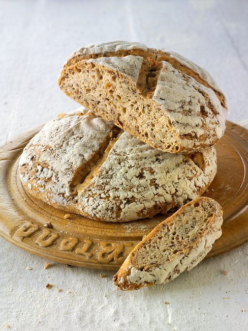 Hand made artisan sour dough wholemeal seed bread made with white, malted and rye flour