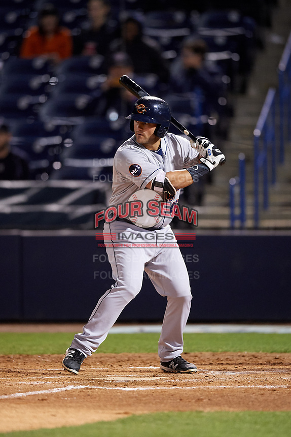 Lakeland Flying Tigers first baseman Wade Hinkle (46) at bat during a game against the Tampa Yankees on April 7, 2017 at George M. Steinbrenner Field in Tampa, Florida.  Lakeland defeated Tampa 5-0.  (Mike Janes/Four Seam Images)