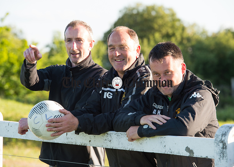 David Russell, assistant manager, Donie Garrihy, manager and Denis Hynes, coach, during a training session in Frank Healy Park Doora in preparation for the Oscar Traynor final in Donegal. Photograph by John Kelly.
