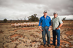 Jamie McTaggart and Scott Herde of Spear creek , with their Dorder Lamb. In the Southern Flinders Rangers.