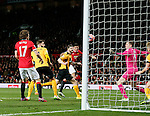 Marcos Rojo of Manchester United heads in the second goal - FA Cup Fourth Round replay - Manchester Utd  vs Cambridge Utd - Old Trafford Stadium  - Manchester - England - 03rd February 2015 - Picture Simon Bellis/Sportimage