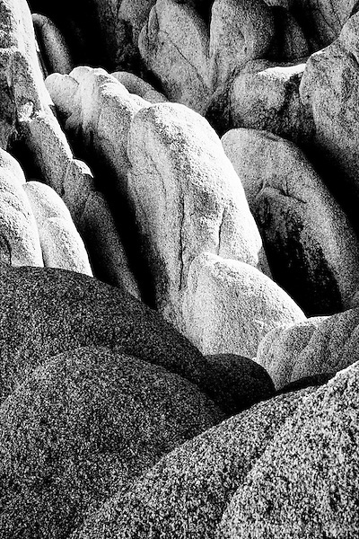 Black and white image of rock formation taken in infrared
