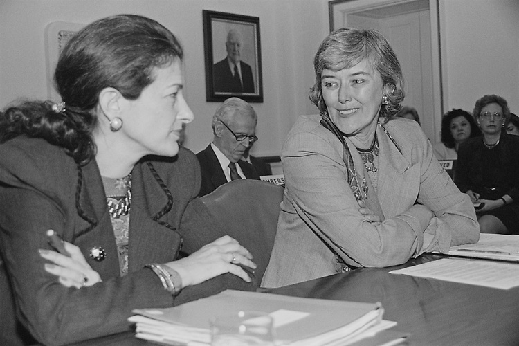 Rep. Olympia Snowe, R-Maine, with party members in office, in March 1994. (Photo by Maureen Keating/CQ Roll Call via Getty Images)