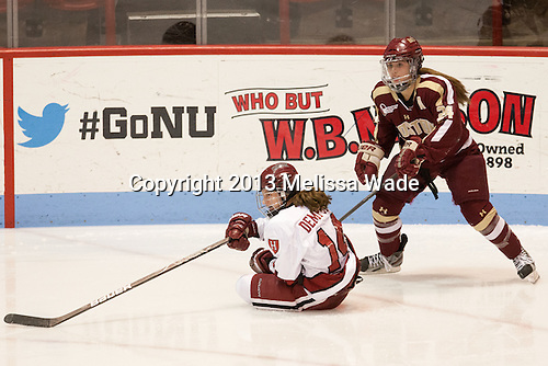 Jillian Dempsey (Harvard - 14), Meagan Mangene (BC - 24) - The Boston College Eagles defeated the Harvard University Crimson 2-1 in the opening game of the 2013 Beanpot on Tuesday, February 5, 2013, at Matthews Arena in Boston, Massachusetts.
