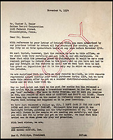"BNPS.co.uk (01202 558833)<br /> Pic HenryAldridge/BNPS<br /> <br /> Sam Philips letter complaing about the lack of Elvis sales in Philadelphia.<br /> <br /> In black and white - the winners and losers from the birth of Rock n Roll.<br /> <br /> Never-seen-before letters charting the struggles a record producer had in launching an unknown Elvis Presley into the music world have emerged for sale for £50,000.<br /> <br /> The fascinating archive reveals calamitous calls made by record executives and DJs who rejected Memphis music impresario Sam Phillips' efforts to get Elvis' name out there.<br /> <br /> Mr Phillips, boss of the fledgling star's first record label Sun Records, wrote: ""Sun has released a new artist who is creating a tremendous excitement...his name is Elvis Presley.""<br /> <br /> The archive of 47 letters includes several rejection letters and is being sold by Henry Aldridge and Son of Devizes, Wilts."