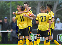 Phoenix players congratulate Ben Waine on his double during the ISPS Handa Premiership football match between Team Wellington and Wellington Phoenix Reserves at David Farrington Park in Wellington, New Zealand on Sunday, 17 November 2019. Photo: Dave Lintott / lintottphoto.co.nz