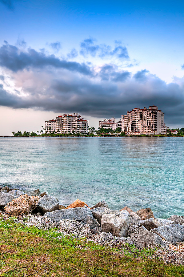 View of apartments in Fisher Island, a very exclusive enclave in Miami Beach. Lots of CopySpace.