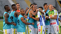 IBAGUÉ - COLOMBIA, 03-03-2018: Jugadores del Atlético Huila celebran después de anotar un gol a La Equidad durante partido por la fecha 6 de la Liga Águila I 2018 jugado en el estadio Manuel Murillo Toro de Ibagué. / Players of Atletico Huila celebrate after scoring a goal to La Equidadduring match for date 6 of the Aguila League I 2018 played at Manuel Murillo Toro stadium in Ibague city. Photo: VizzorImage / Juan Carlos Escobar / Cont