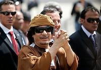 Il leader libico Muammar Gheddafi sbarca all'aeroporto di Ciampino, Roma, 29 agosto 2009..Libyan leader Muamar Gadhafi disembarks at Rome's Ciampino airport, 29 august 2010..UPDATE IMAGES PRESS/Riccardo De Luca