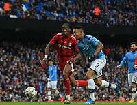 26th January 2020; Etihad Stadium, Manchester, Lancashire, England; English FA Cup Football, Manchester City versus Fulham; Gabriel Jesus of Manchester City takes on Terence Kongolo of Fulham inside the penalty area