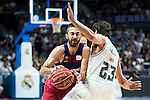 Real Madrid's player Sergio Llull and Barcelona's player Juan Carlos Navarro during Liga Endesa 2015/2016 Finals 3rd leg match at Barclaycard Center in Madrid. June 20, 2016. (ALTERPHOTOS/BorjaB.Hojas)
