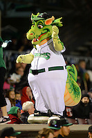 Dayton Dragons mascot on the dugout entertaining fans during a game against the Bowling Green Hot Rods on April 20, 2013 at Fifth Third Field in Dayton, Ohio.  Dayton defeated Bowling Green 6-3.  (Mike Janes/Four Seam Images)