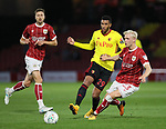 Watford's Etienne Capoue tussles with Bristol City's Hodur Magnusson during the Carabao cup match at Vicarage Road Stadium, Watford. Picture date 22nd August 2017. Picture credit should read: David Klein/Sportimage