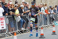 Pictured: A bearded Marathon runner on the South Parade, Tenby. Sunday 15 September 2019<br /> Re: Ironman triathlon event in Tenby, Wales, UK.