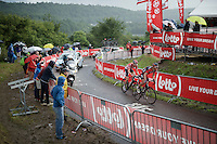 With 1 lap to go Philippe Gilbert (BEL/BMC) & Tim Wellens (BEL/Lotto-Soudal) have a comfortable lead over the other riders up 'Le Petit Poggio'<br /> <br /> Belgian National Road Cycling Championships 2016<br /> Les Lacs de l'Eau d'Heure