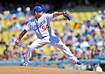 24 July 2011: Los Angeles Dodgers pitcher Javy Guerra on the mound against the Washington Nationals at Dodger Stadium in Los Angeles, California. The Dodgers defeated the Nationals 3-1 to take the rubber match of their three game series. Mandatory Credit: Ed Wolfstein Photo