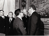 At the final meeting in Paris, France on January 23, 1973 at which the cease fire agreement putting an end to the Vietnam War was initialed, chatting together are, from left to right: Nguyen Co Thach, Vice Minister for Foreign Affairs, Democratic Republic of Vietnam (DRV or North Vietnam); Minister Xuan Thuy, DRV Chief of Delegation to Paris Peace Conference; Nguyen Dinh Phung, interpreter; Le Duc Tho, Special Advisor to DRV Delegation to Paris; and Dr. Henry Kissinger.<br /> Credit: White House via CNP