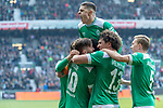 13.04.2019, Weser Stadion, Bremen, GER, 1.FBL, Werder Bremen vs SC Freiburg, <br /> <br /> DFL REGULATIONS PROHIBIT ANY USE OF PHOTOGRAPHS AS IMAGE SEQUENCES AND/OR QUASI-VIDEO.<br /> <br />  im Bild<br /> <br /> 2:0 kopfball Theodor Gebre Selassie (Werder Bremen #23) <br /> <br /> jubel <br /> Max Kruse (Werder Bremen #10) Milot Rashica (Werder Bremen #11)<br /> Ludwig Augustinsson (Werder Bremen #05)<br /> Claudio Pizarro (Werder Bremen #04)<br /> Foto &copy; nordphoto / Kokenge